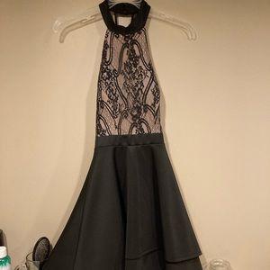 black & tan colored lace fish tail dress !